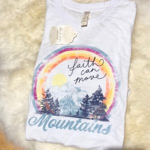 "New ""FAITH CAN MOVE MOUNTAINS"" graphic tee."